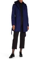 Andrew Marc Wool Blend Genuine Dyed Fox Fur Collar Coat