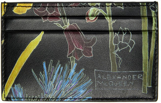 Alexander McQueen Black Floral Deconstructed Card Holder