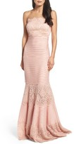 Tadashi Shoji Women's Strapless Lace Inset Pintuck Jersey Gown