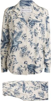 Desmond & Dempsey Cotton Parrot Print Pyjama Set