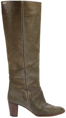Chloé \N Green Leather Boots