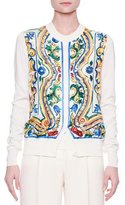 Dolce & Gabbana Button-Front Maiolica Tile-Print Cardigan, White/Blue/Yellow