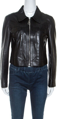 Louis Vuitton Black Leather Cropped Zip Front Jacket M