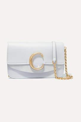 Chloé C Suede-trimmed Leather Shoulder Bag - Light blue