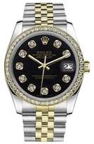 Rolex Datejust 2-T Classic Black 18K Yellow Gold & Stainless Steel Diamond 36mm Unisex Watch
