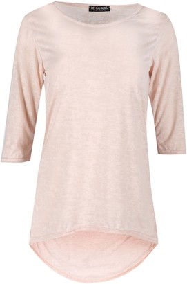 Fashion Star Womens Burn Out 3/4 Sleeves Round Neck High Low Curved Hem T Shirt Mini Top Nude