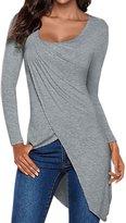 uxcell® Women Asymmetric Neck Pleated Front Tulip Hem Tunic Top Grey M