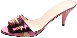 Prada Multicolor Patent Leather Kitten Heel Slides Sandals Size 36