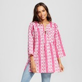 Happy by Pink Chicken Women's Printed Stripe Woven Tunic Top