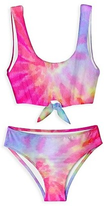 Stella Cove Little Girl's & Girl's Tie-Dye Bow Swim Set