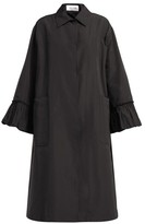 Valentino Flared-sleeve Cotton-blend Faille Coat - Womens - Black