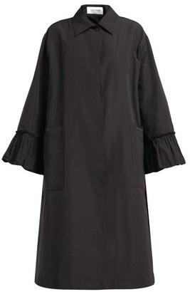Valentino Flared-sleeve Cotton-blend Faille Coat - Black