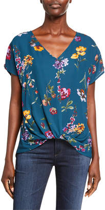 WEST KEI Twist Front Floral Top
