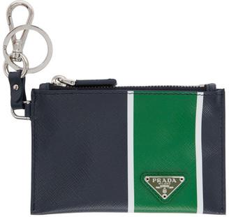 Prada Navy and Green Saffiano Zip Pouch Keychain