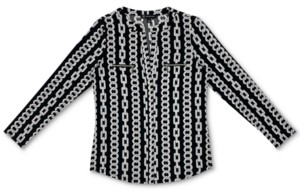 INC International Concepts Inc Plus Size Chain-Print Zip-Pocket Top, Created for Macy's