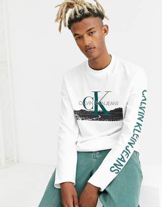Calvin Klein Jeans landscape print long sleeve t-shirt in white