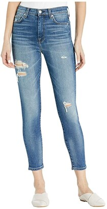 7 For All Mankind Luxe Vintage High-Waist Ankle Skinny in Distressed Authentic Light (Distressed Authentic Light) Women's Jeans