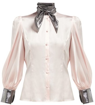 Edeltrud Hofmann - Nico High-neck Silk Blouse - Pink Multi