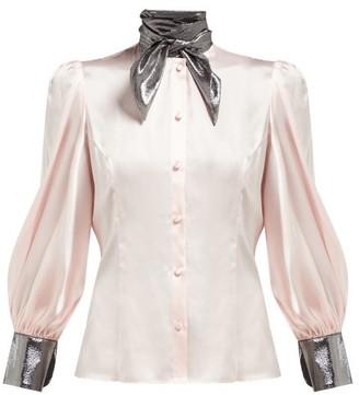 Edeltrud Hofmann - Nico High-neck Silk Blouse - Womens - Pink Multi