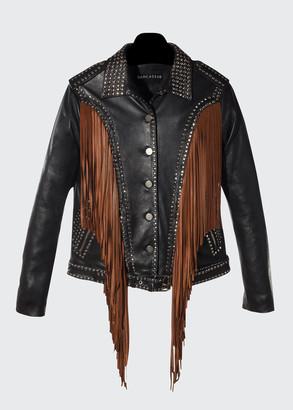 Dan Cassab Geovana Studded Leather Jacket w/Suede Fringe