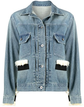 Sacai Knitted-Panel Denim Jacket