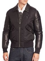 Bally Shearling-Trimmed Nylon & Leather Bomber