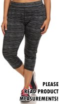 CurvyLuv.com Women's Plus Size Active Wear Gym Athletic Cropped Leggings Pants Pattern (2X, )