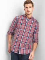 Gap True wash poplin plaid slim fit shirt