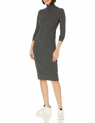 Daily Ritual Amazon Brand Women's Rayon-Spandex Fine Rib Long-Sleeve Turtleneck Midi Dress