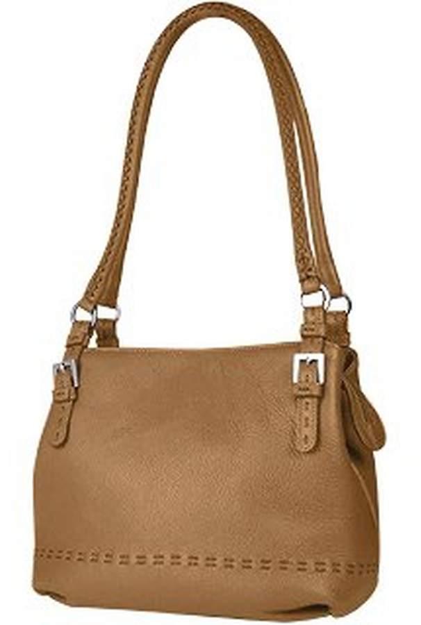 Fontanelli Tan Brown Stiched Soft Leather Handbag