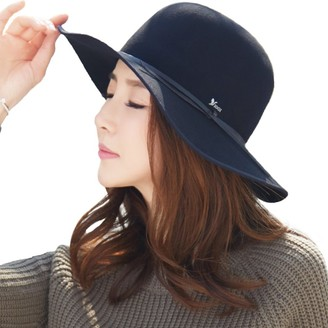 Fancet Ladies 100% Wool Felt Porkpie Hat Fedora Church Panama Wide Brim Winter Cap for Women Black