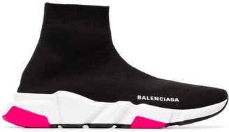 Balenciaga Black, White And Pink Speed Knitted High Top Sneakers