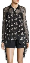 Opening Ceremony Gestures Long-Sleeve Floral Burnout Top, Black