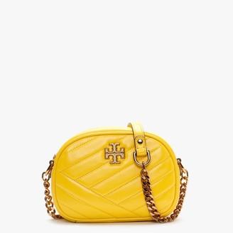 Tory Burch Kira Chevron Small Limone Leather Camera Bag