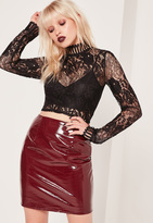 Missguided High Neck Lace Crop Top Black