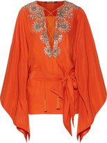 Roberto Cavalli Embellished Silk-satin Blouse - Bright orange