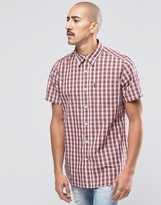 Barbour Shirt In Tartan Check Short Sleeves In Tailored Slim Fit In White