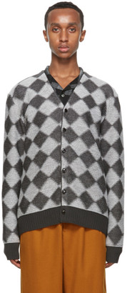Needles Grey Wool Check Cardigan