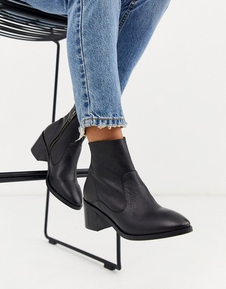 Office alford block heel leather ankle boots in black