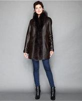 The Fur Vault Fox-Fur-Trimmed & Rabbit-Fur-Lined Leather Coat
