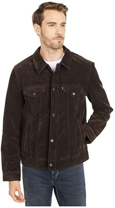 Levi's Faux Suede Classic Trucker Jacket (Dark Brown) Men's Clothing