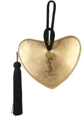 Saint Laurent Monogram Logo Plaque Heart Clutch Bag