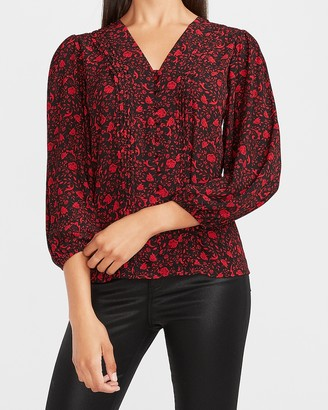 Express Floral Pleated Button Front Shirt