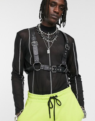 ASOS DESIGN chest harness in black faux leather with studding