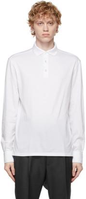 Ermenegildo Zegna White Cotton Long Sleeve Polo