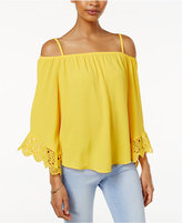 Amy Byer Juniors' Off-The-Shoulder Lace-Trim Top