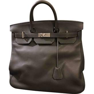Hermes Haut a Courroies Grey Leather Travel bags