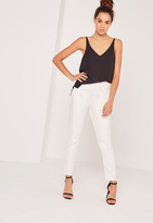 Missguided Snake Textured Cigarette Trousers White