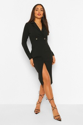 boohoo Long Sleeve Wrap Midi Blazer Dress