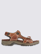 M&S Collection Leather Twin Strap Riptape Sandals